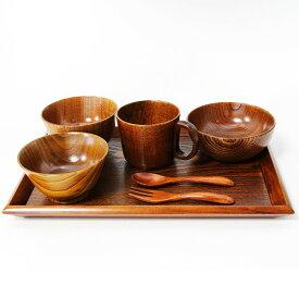 【送料無料】子供食器セット 漆塗り (汁椀 飯椀 箸 木製 お椀)