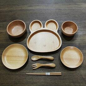 【送料無料】 子供食器セット 8点セット うさぎ ブナの木(キッズ 汁椀 飯椀 箸 木製 お椀)