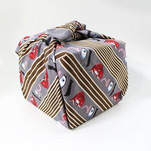 風呂敷 重箱 めで鯛 ねずみ色 いせ辰 90cm 綿100% 日本製 ふろしき 国産 江戸千代紙 大判 バック 和柄