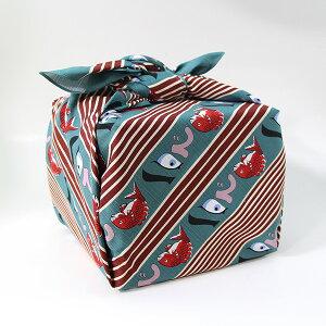風呂敷 重箱 めで鯛 緑 いせ辰 90cm 綿100% 日本製 ふろしき 国産 江戸千代紙 大判 バック 和柄