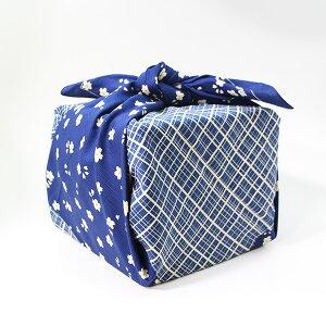風呂敷 重箱 格子桜 ブルー いせ辰 90cm 綿100% 日本製 ふろしき 国産 江戸千代紙 大判 バック 和柄