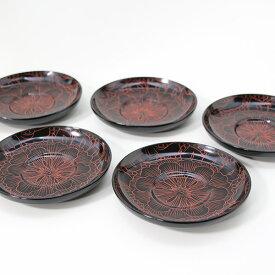 茶托 牡丹沈金 5枚 木製 漆器 茶たく 漆塗り