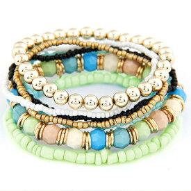 ブレスレット 数珠 ターコイズ ブルー 珊瑚カラー レディース メンズ フリーサイズ ki2