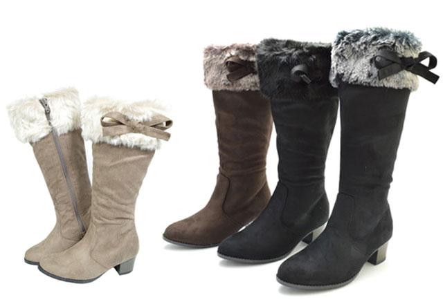 子供ブーツ キッズ 靴 ロングブーツ ブーツ LovelySmile リボン ファー スエード こども 子ども 黒 茶 ブラック/ブラック ブラック/グレー ダークブラウン ベージュ 3909 8035