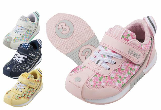 送料無料 イフミー IFME 30-9014 キッズスニーカー キッズ ジュニア 子供 花柄 フラワー 女の子 ピンク ホワイト ネイビー イエロー 靴 運動靴