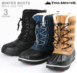 トレイルマスターTR-024スノーブーツビーンブーツウインターブーツメンズ紳士防寒防水防滑ブラックキャメルブルー/グレー靴
