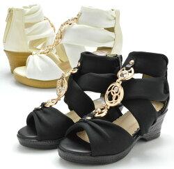 サンダルLS8005Fウエッジグラディエーターキッズジュニア子供ブラックアイボリー靴