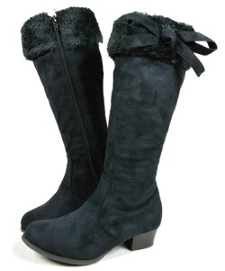 子供ブーツキッズ靴ロングブーツブーツLovelySmileリボンファースエードこども子ども黒茶ブラック/ブラックブラック/グレーダークブラウンベージュ39098035