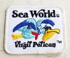 ビンテージ Sea World Virgil Pelican パッチ 【ワッペン】【メンズ】【レディース】【オールド】【ペリカン】【リゾート】【ロゴ】【イルカ】【USA製】【アメリカ】【古着】【中古】