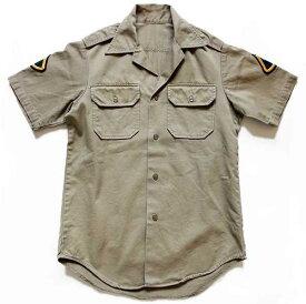 70s 米軍 U.S.ARMY パッチ付き 半袖 コットンツイルシャツ カーキ【メンズ】【ビンテージ】【ミリタリー】【ワッペン】【オフィサー】【アメリカ】【古着】【中古】