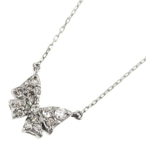 ジュエリー ネックレス 蝶 デザイン レディース 4月誕生石 天然ダイヤモンド 10金ゴールド 約0.12ct (ホワイト イエロー ピンク)