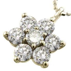 ネックレス フラワー レディース 4月誕生石 天然ダイヤモンド 18金ゴールド 約0.70ct 大サイズ (ホワイト イエロー ピンク)