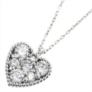 ペンダント ネックレス ハート レディース 4月誕生石 天然ダイヤモンド プラチナ900 約0.77ct