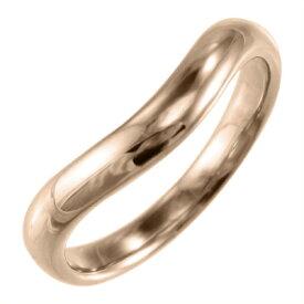 丸い指輪 メンズ V字 レディース 18kゴールド (ホワイト イエロー ピンク)