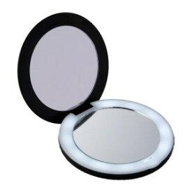 10倍拡大鏡コンパクト2面ミラー(ライト付) 拡大ミラー 折りたたみ メイクアップミラー 化粧鏡 携帯用 手鏡 メール便 送料無料