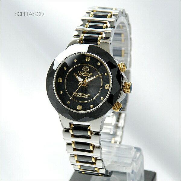 【あす楽】ジョン・ハリソン J.HARRISON JH-024-L ソーラー電波 天然ダイヤモンド付 セラミック ブラック レディース腕時計