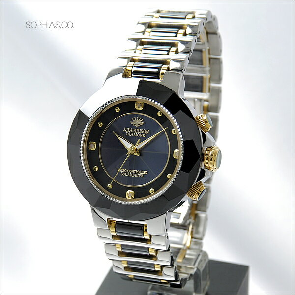 【あす楽】ジョン・ハリソン J.HARRISON JH-024-M ソーラー電波 天然ダイヤモンド付 セラミック ブラック メンズ腕時計