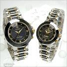 ジョン・ハリソンJ.HARRISONソーラー電波天然ダイヤモンド付セラミックブラックペア腕時計JH-024-M&JH-024-L