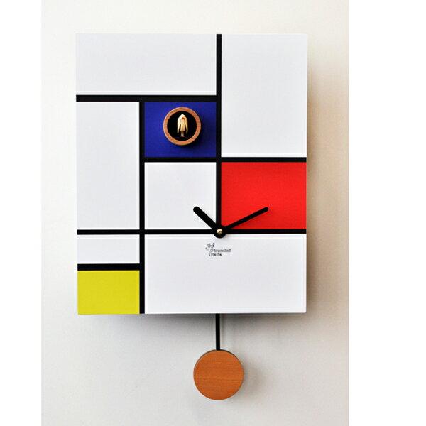 【正規輸入品】 イタリア ピロンディーニ 140 Pirondini 木製鳩時計 Around Mondrian