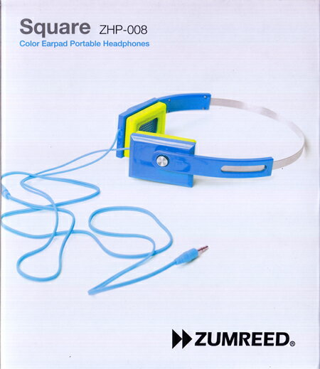 ZUMREED ズムリード Square ZHP-008 Color Earpad Portable Headphones 【Light Blue ライトブルー】【RCP】【訳あり品】【RCP】【ヘッドフォン/音楽/新品/SORA】【RCP】