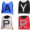 カシミヤ100%のショート丈長袖セーター(赤・黒・白・青)の4色ありサイズM寸