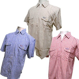 ミチコロンドン半袖フルジッパーシャツ(紺・ベージュ・赤の格子柄)M・L寸あり