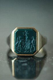 ヴィンテージ オランダ FAMILY CREST/紋章 シール ブラッドストーン 14カラットゴールドシグネットリング23.5号 me01 ri04