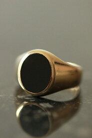 ヴィンテージ 英国 オーバルシェープ ブラックオニキス 9カラットゴールドシグネットリング16.5号 me01 ri04