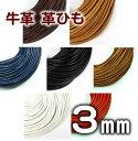 革ひも 牛革 革紐 3mm 丸紐 1m単位 測り売り 皮紐 かわひも 3.0mm レザーコード 【メール便可】