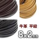 革ひも 牛革 革紐 幅8mmX厚さ2mm 平紐 1m単位 測り売り 皮紐 かわひも 8.0mm幅 レザーコード 【メール便可】