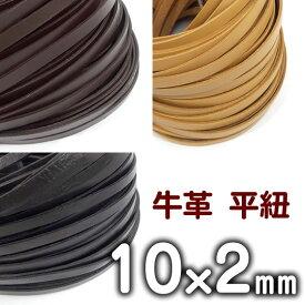 革ひも 牛革 革紐 幅10mmX厚さ2mm 平紐 1m単位 測り売り 皮紐 かわひも 10.0mm幅 レザーコード 【メール便可】
