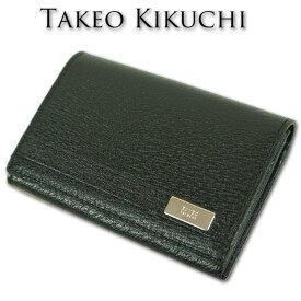 タケオキクチ TAKEO KIKUCHI 本革 豚革/牛革 トング 名刺入れ カードケース メンズ ブラック 黒
