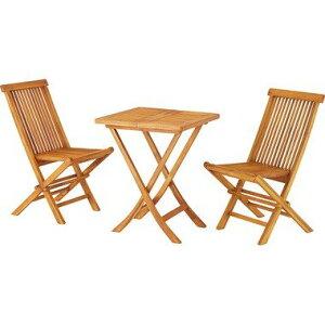 3点セット テーブル・チェア2脚 折りたたみ テーブル 天然木 木製 ガーデニング バルコニー 庭 アウトドア おしゃれ 完成品 テラス