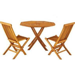 3点セット テーブル・チェア2脚 ダイニングテーブル 天然木 木製 ガーデニング バルコニー 庭 アウトドア おしゃれ テラス