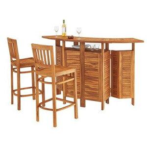 3点セット カウンターテーブル&チェア2脚 折りたたみ テーブル チェア 収納付き 天然木 木製 ガーデニング バルコニー 庭 テラス アウトドア おしゃれ 完成品