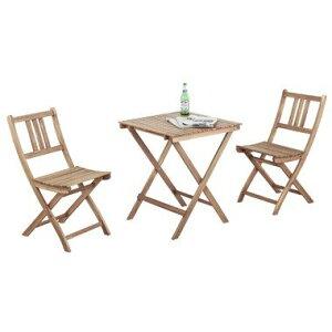 3点セット バイロン テーブル&チェア2脚 天然木 木製 バルコニー 庭 アウトドア おしゃれ テラス