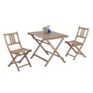 3点セット バイロン テーブル&チェア2脚 天然木 木製 バルコニー 庭 アウトドア おしゃれ テラス パラソル立て