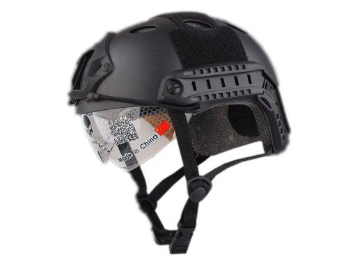 【数量限定価格】 EMERSON製 OPS-COREタイプ FAST PJ ヘルメット シールド付 レプリカ ブラック 黒