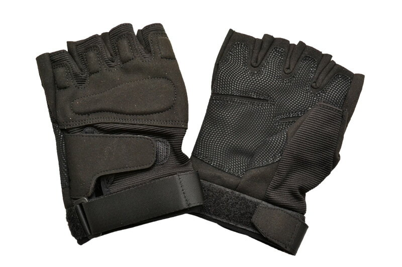 オープンフィンガー タクティカルグローブ 黒色 ブラック 特殊ナイロン セーム革 サバゲー グローブ 手袋