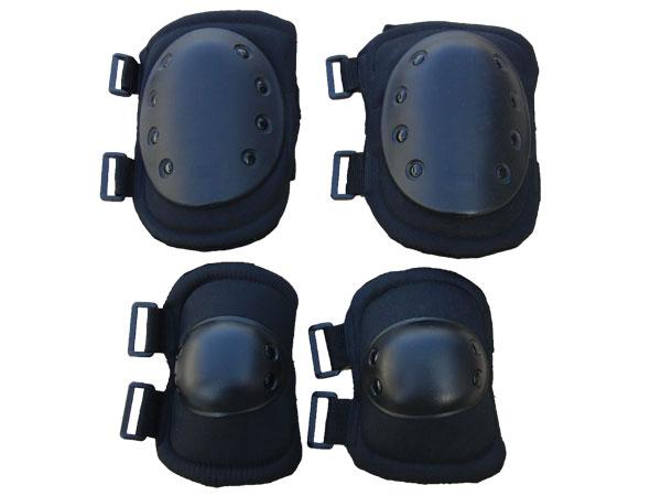 【数量限定】 ブラック エルボーパッド & ニーパッド プロテクター 黒色 1人分セット