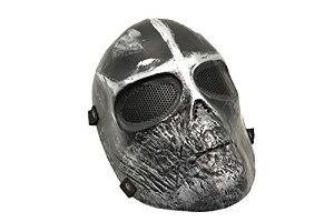 スカルライン 黒銀色 ソルジャーマスク フルフェイスゴーグル フルフェイスマスク スカルマスク