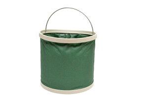 ナイロン 8L 8リットル 丸型 折り畳みバケツ 災害 釣り BBQ アウトドア (グリーン 緑色)