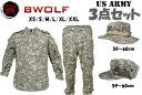 BWOLF製 迷彩服 戦闘服 上下セット ブーニーハット 八角帽 3点セット ACU迷彩