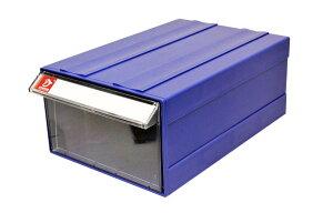 連結式 何個でも連結可能 パーツキャビネット 部品 収納 パーツケース レターケース 工具 キャビネット F4 (1個, 本体青色 ケース透明)
