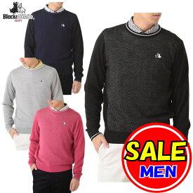 【50%OFF!セール】ブラック&ホワイト / ブラック アンド ホワイト/秋冬モデル!セーター/クルーネック(メンズ)ゴルフウェア