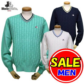 【50%OFF!セール】ブラック&ホワイト / ブラック アンド ホワイト/春モデル!セーター/Vネック/ケーブル柄(メンズ)ゴルフウェア