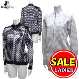 【40%OFF!セール】ブラック&ホワイト / ブラック アンド ホワイト/春夏モデル!/サマーニット/薄手 ジップセーター(レディース)ゴルフウェア