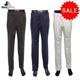 【50%OFF!セール】ブラック&ホワイト / Black&White / 秋冬モデル / ワンタックパンツ/コーデュロイパンツ(メンズ) ブラック&ホワイト / ゴルフウェア