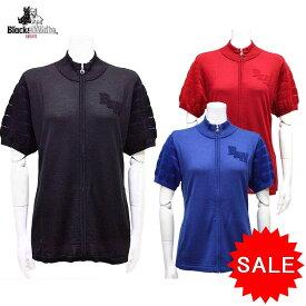 【50%OFF!セール】ブラック&ホワイト / ブラック アンド ホワイト 秋冬モデル!半袖ジップセーター (レディース)ゴルフウェア/15K