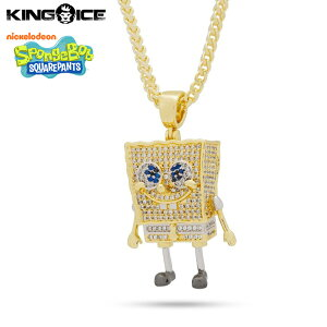 """King Ice×SpongeBob SquarePants キングアイス スポンジボブ ネックレス ゴールド ジルコニアストーン """"The Spongebob Squarepants Necklace"""" 人気ブランド アクセサリー 金メッキ メンズ レディース 男女兼用"""